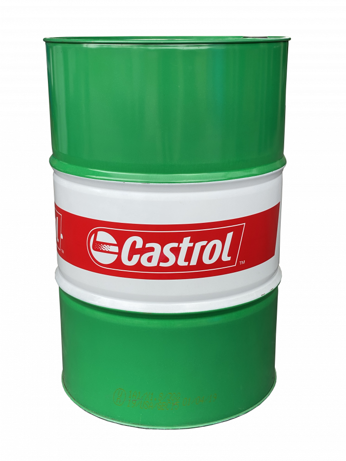 Picture of green, white, and red 55 gallon Castrol drum.